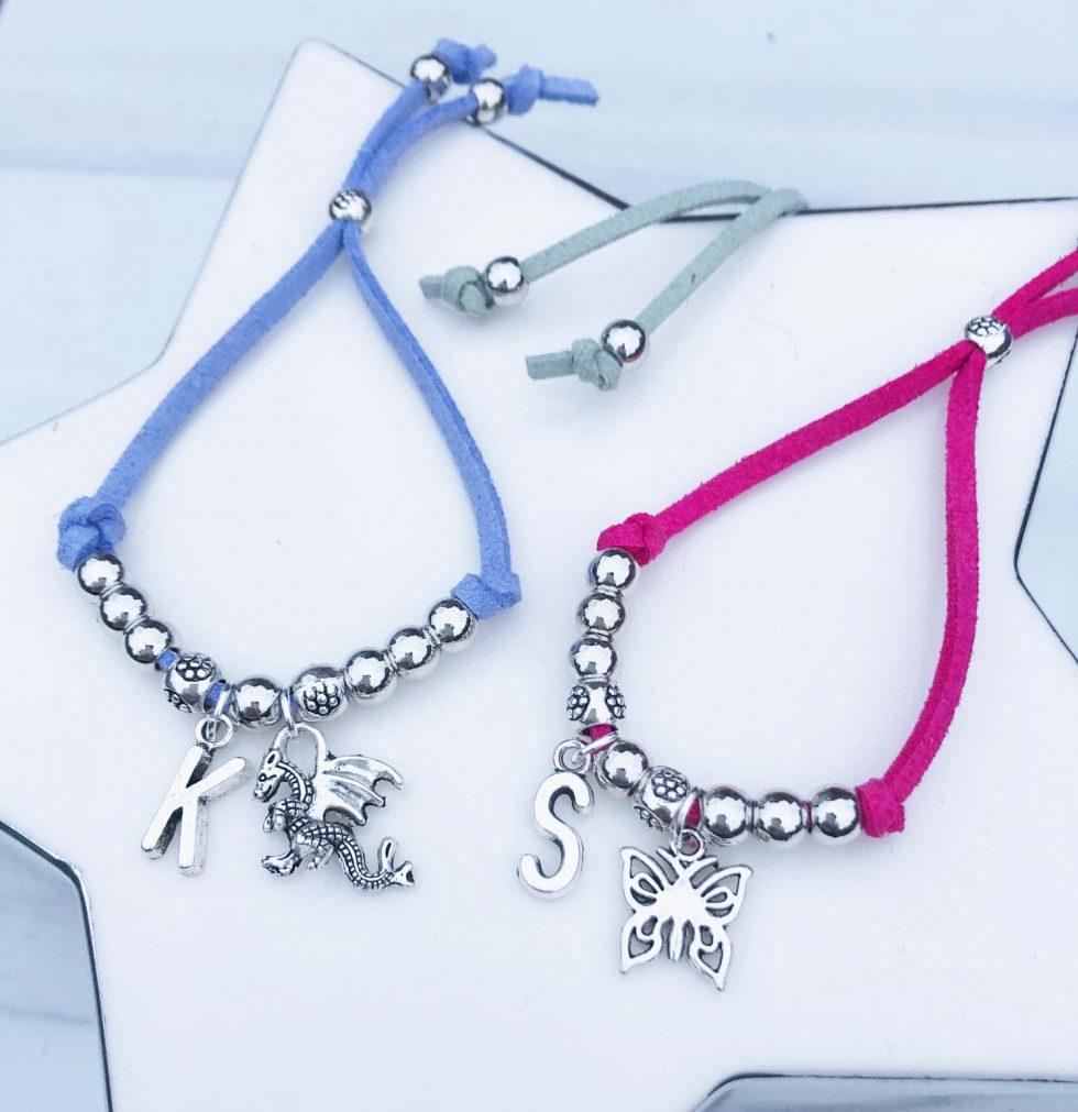initial suede cord bracelet